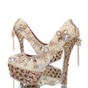 Women's Real Leather Closed Toe Platform Pumps With Imitation Pearl Rhinestone Tassel (047054772)