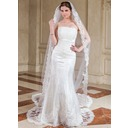 One-tier Cathedral Bridal Veils With Lace Applique Edge (006041348)