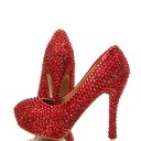 Women's Real Leather Stiletto Heel Closed Toe Platform Pumps With Rhinestone (047054785)