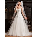 Ball-Gown Sweetheart Cathedral Train Tulle Lace Wedding Dress (002067221)