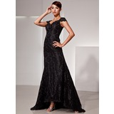 Trumpet/Mermaid V-neck Asymmetrical Lace Evening Dress With Beading (017025833)