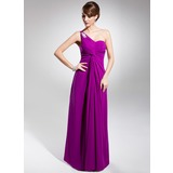 A-Line/Princess One-Shoulder Floor-Length Chiffon Evening Dress With Ruffle Beading Appliques Lace