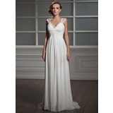 Empire V-neck Sweep Train Chiffon Tulle Wedding Dress With Ruffle Lace Beadwork (002006371)