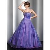 Ball-Gown Strapless Floor-Length Taffeta Organza Quinceanera Dress With Beading (021021126)