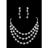 Jewelry Sets Anniversary Wedding Engagement Birthday Gift Party Daily Alloy With Rhinestones Silver Jewelry With Rhinestone (011017029)
