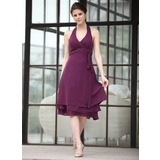 A-Line/Princess Halter Knee-Length Chiffon Bridesmaid Dress With Ruffle (016026252)