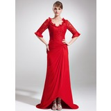 Sheath V-neck Asymmetrical Chiffon Lace Mother of the Bride Dress With Ruffle (008005945)
