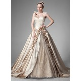 Ball-Gown One-Shoulder Chapel Train Satin Lace Wedding Dress With Ruffle Beadwork Flower(s) (002004515)