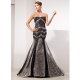 Mermaid Sweetheart Court Train Tulle Sequined Prom Dress (018014474)