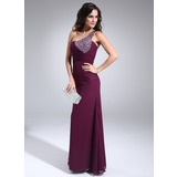 Sheath One-Shoulder Floor-Length Chiffon Evening Dress With Ruffle Beading (017002590)