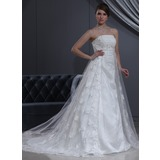 Empire Strapless Chapel Train Tulle Charmeuse Wedding Dress With Lace Beadwork (002000267)