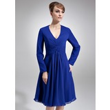 A-Line/Princess V-neck Knee-Length Chiffon Kate Middleton Style With Ruffle