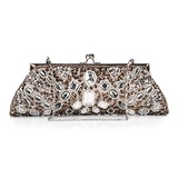 Unique Satin with Acrylic Crystals Evening Handbag/Clutches (012025183)