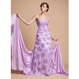 A-Line/Princess Strapless Watteau Train Chiffon Mother of the Bride Dress With Ruffle Beading