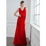 Trumpet/Mermaid V-neck Floor-Length Taffeta Bridesmaid Dress With Ruffle Bow(s)