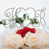 Monogram/Heart Chrome Wedding Cake Topper (119030827)