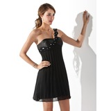 Empire One-Shoulder Short/Mini Chiffon Charmeuse Cocktail Dress With Ruffle Lace Beading (016021055)