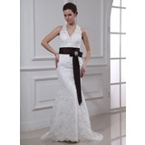 Sheath/Column Halter Court Train Satin Lace Wedding Dress With Sashes Crystal Brooch (002000430)