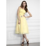 A-Line/Princess Strapless Tea-Length Chiffon Homecoming Dress With Ruffle Lace Beading (022021278)