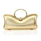 (Gold)Faux Leather With Rhinestone Evening Handbags/ Clutches/ Top Handle Bags/ Novelty (012013428)