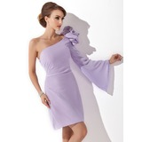 Sheath One-Shoulder Knee-Length Chiffon Cocktail Dress With Flower(s) (016008244)