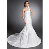 Mermaid Sweetheart One-Shoulder Chapel Train Taffeta Wedding Dress With Ruffle Flower(s) (002015132)