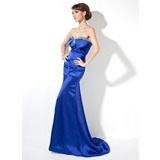 Mermaid Sweetheart Sweep Train Charmeuse Evening Dress With Ruffle Beading Sequins (017020661)
