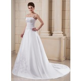A-Line/Princess Court Train Satin Wedding Dress With Embroidery Beadwork (002006372)