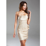 Sheath/Column Strapless Short/Mini Satin Cocktail Dress With Ruffle Beading Flower(s) (016015329)