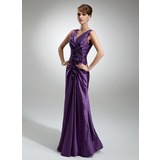 Sheath/Column V-neck Floor-Length Taffeta Mother of the Bride Dress With Ruffle Flower(s)