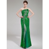 Sheath Scalloped Neck Floor-Length Tulle Sequined Prom Dress With Beading (018019687)