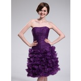A-Line/Princess Strapless Knee-Length Organza Homecoming Dress With Ruffle (022025384)