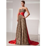 A-Line/Princess Sweetheart Watteau Train Charmeuse Evening Dress With Sash Beading