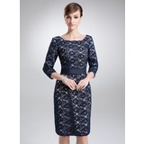 Sheath/Column Square Neckline Knee-Length Lace Mother of the Bride Dress