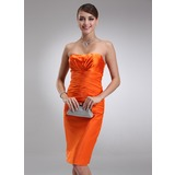 Sheath Sweetheart Knee-Length Charmeuse Cocktail Dress With Ruffle (016021140)