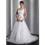 Ball-Gown V-neck Court Train Organza Satin Wedding Dress With Embroidery Beading Flower(s) Sequins