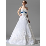 A-Line/Princess Strapless Chapel Train Satin Wedding Dress With Embroidered Sash Beading Sequins