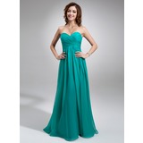 Empire Sweetheart Floor-Length Chiffon Bridesmaid Dress With Ruffle (007016755)