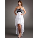 Empire Sweetheart Asymmetrical Chiffon Charmeuse Homecoming Dress With Lace (022008962)