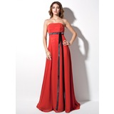Empire Strapless Court Train Chiffon Evening Dress With Sash Bow(s)