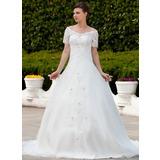 Ball-Gown Off-the-Shoulder Chapel Train Organza Wedding Dress With Ruffle Lace Beadwork (002011562)