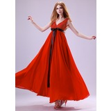 Empire V-neck Ankle-Length Chiffon Charmeuse Prom Dress With Ruffle Sash Beading Sequins (018021124)