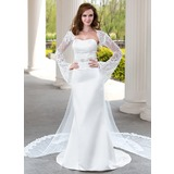 Mermaid Sweetheart Watteau Train Satin Tulle Wedding Dress With Lace Beadwork (002004482)