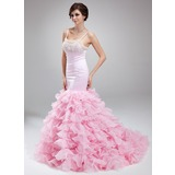Mermaid Scoop Neck Court Train Organza Satin Prom Dress With Beading (018018798)