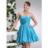 Empire Strapless Short/Mini Taffeta Homecoming Dress With Ruffle Flower(s) (022020749)
