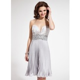 Empire Sweetheart Short/Mini Charmeuse Homecoming Dress With Ruffle Beading (022004402)