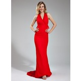 Mermaid Halter Sweep Train Chiffon Bridesmaid Dress With Ruffle (007019654)