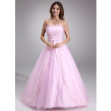 Ball-Gown Scalloped Neck Court Train Satin Tulle Quinceanera Dress With Ruffle Lace Beading (021020618)