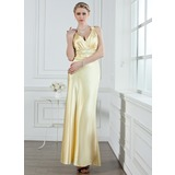 A-Line/Princess V-neck Ankle-Length Charmeuse Evening Dress With Ruffle Beading