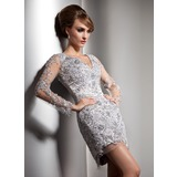 Sheath/Column V-neck Short/Mini Charmeuse Cocktail Dress With Beading Sequins (016020581)